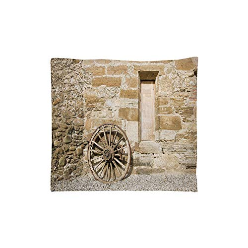 Indoor/Outdoor Square Seat Cushion,Comfort Memory Foam Chair Pad,Barn Wood Wagon Wheel,Ancient Rural Facade with Old Wheel Traditional Country House Decorative,Brown Light Brown,Fit for most of c