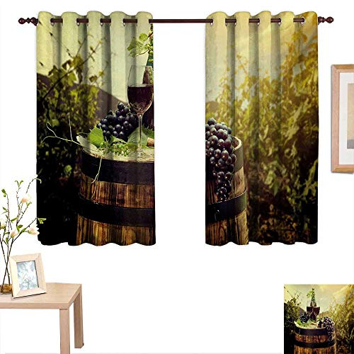 Wine Decor Curtains by Scenic Tuscany Landscape with Barrel Couple of Glasses and Ripe Grapes Growth 63