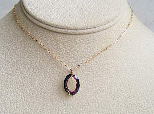 Brown Volcano Cosmic Oval Ring 16 Inch Gold Filled Necklace Made With Swarovski Crystal Gift Idea