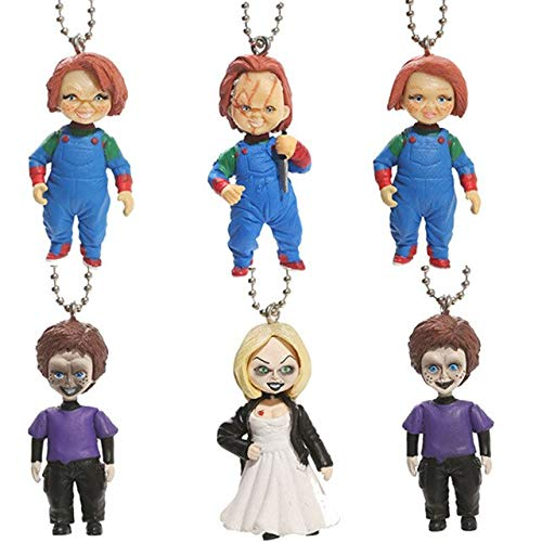6Pcs/Set Child's Play Bride Son Doll Keyring Action Figure Toys K Ain Pendant Model Toy Gifts Halloween Must Haves for Kids Friendship Gifts Girls Favourite Characters Superhero Party ()
