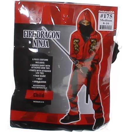 Fire Ninja Costume (Children's Fire Dragon Ninja Costume Size Medium (8-10))