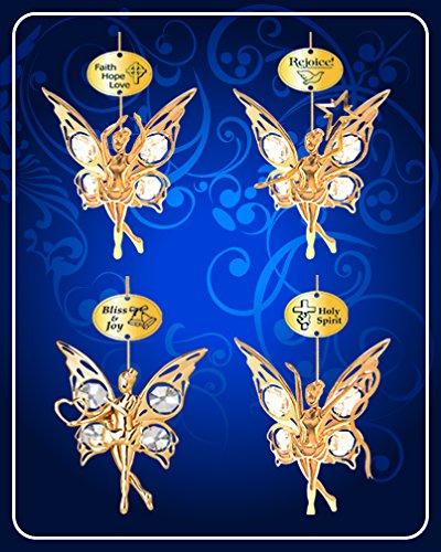 Set of 4 Ornaments - 24k Gold Plated Angel W/clear Swarovski Austrian Crystal ()