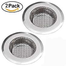 "NH Sunray 2pcs Stainless Steel Kitchen Sink Strainer Removable Heavy-Duty Drain Filter Perfect for Kitchen Bathroom Basin Laundry Stop Hair Disposal Waste (Suitable for drain 3.3-3.7"", Chrome)"
