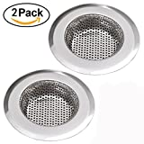 """NHSUNRAY 2pcs Stainless Steel Kitchen Sink Strainer Removable Heavy-Duty Drain Filter Perfect for Kitchen Bathroom Basin Laundry Stop Hair Disposal Waste (Suitable for drain 3.3""""-3.7"""", Chrome)"""