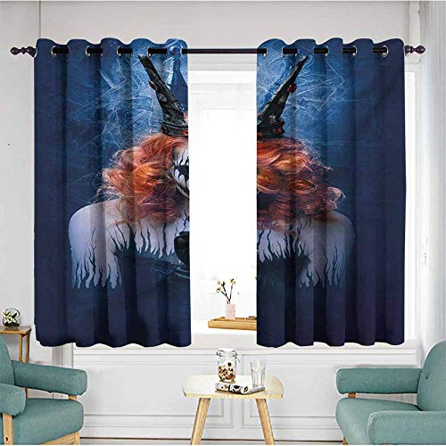 AndyTours Simple Curtains,Queen Queen of Death Scary Body Art Halloween Evil Face Bizarre Make Up Zombie,Energy Efficient, Room Darkening,W55x63L,Navy Blue Orange Black