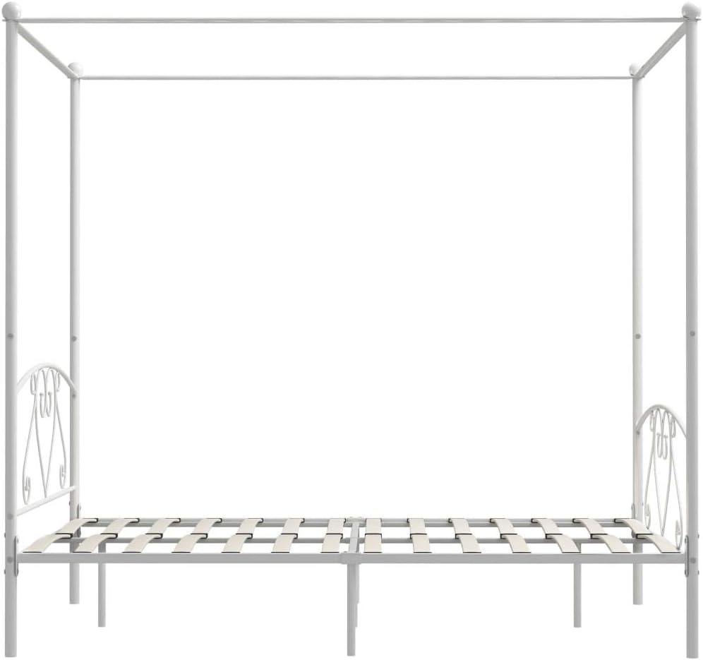 Tidyard Letto a Baldacchino Giroletto in Metallo Struttura per Letto giroletto Matrimoniale Bianco in Metallo 100x200 cm