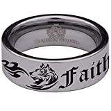 Silver Tungsten Carbide Tribal Wolf Faith and Loyalty Inspired Wedding Band Anniversary Ring for Men and Women 8mm Size 8.5
