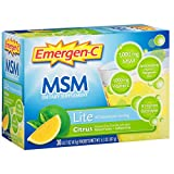 Emergen-C Lite MSM (30 Count, Citrus Flavor) Dietary Supplement Fizzy Drink Mix with 1000mg Vitamin C, 1000mg MSM, 5.1 Ounce Packets