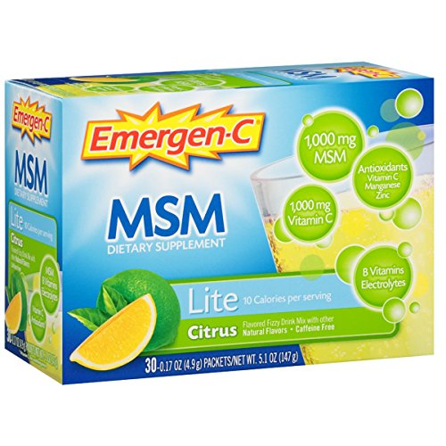 Emergen-C Lite MSM (30 Count, Citrus Flavor) Dietary Supplement Fizzy Drink Mix with 1000mg Vitamin C, 1000mg MSM, 5.1 Ounce Packets by Emergen-C (Image #11)