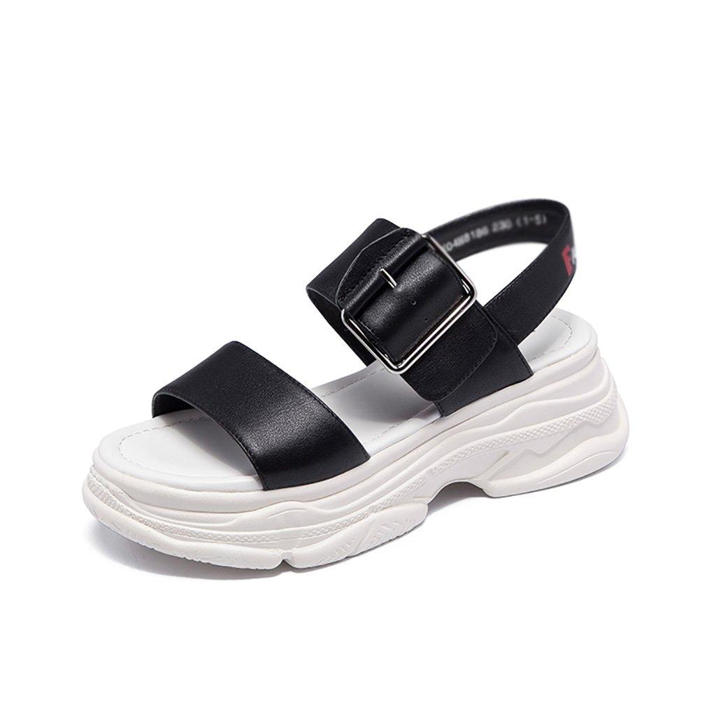 Sandales ZCJB : Muffin Noir Épaisses Femme Summer (Couleur Fashion Mot Sauvage Buckle Open Toe Sports (Couleur : Noir, Taille : 38) Noir 5746909 - epictionpvp.space