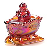 Holiday Christmas 2 Pc Glass Santa on Sleigh - Mosser Glass (Red Carnival)