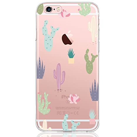 DAPP Funda iPhone 6 / 6S Serie Dolce Vita Carcasa Transparente Silicona para Mujer/Chica con diseño de Flores Cactus Coloridas