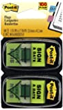 """Post-it Message Flags, """"Sign and Date"""", Bright Green, 1-Inch Wide, 50/Dispenser, 2-Dispensers/Pack"""