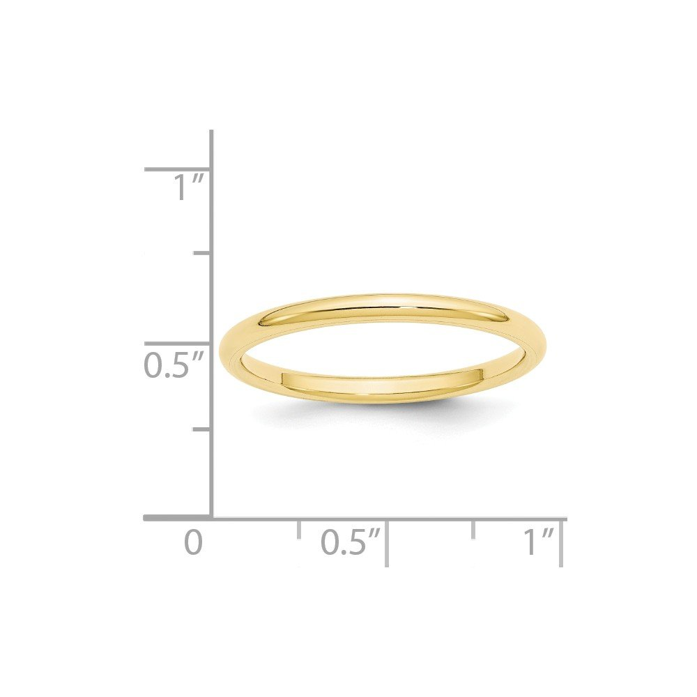 10k Yellow Gold 2mm Standard Comfort Fit Band Ring Size 9.5 Ideal Gifts For Women