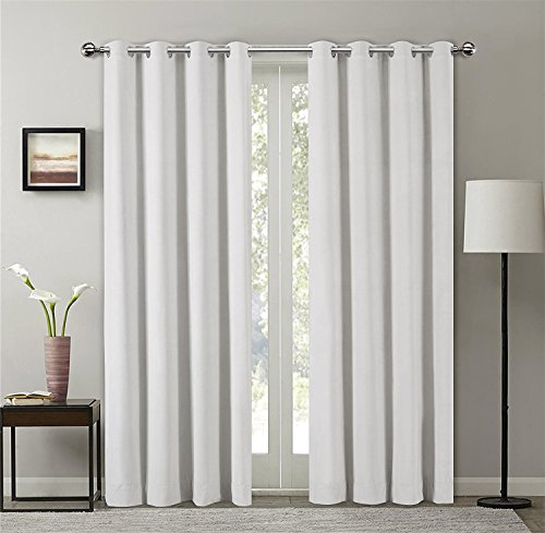 SeeSaw Home Supersoft Solid Grommet/Eyelet Top Thermal Insulated Eco-friendly Heavy Velvet Window Curtain Drapes, Off White, 50W By 84L inch,1 panel