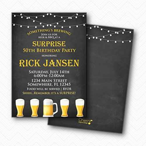Something is Brewing Beer Surprise Birthday Party Invitations | Envelopes Included]()