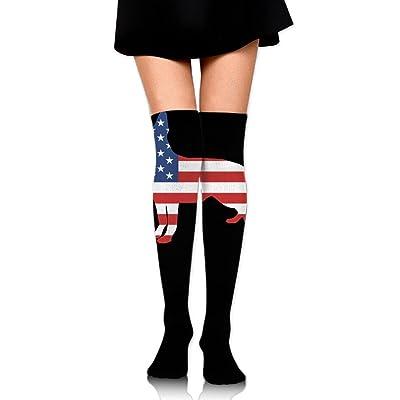WRE8577 Women's Knee High Sport Long Sock German Shepherd American Flag For Soccer Sport Long Stockings