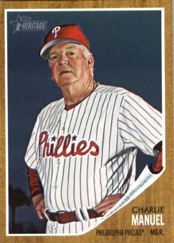 2011 Topps Heritage Baseball Card #374 Charlie Manuel MG Philadelphia Phillies (Manager) MLB Trading Card