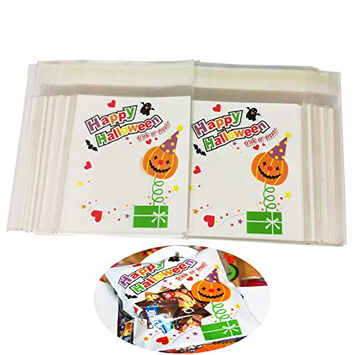 Halloween Candy Treat Bags - Goody Party Favor Cellophane Bags for Homemade DIY ()