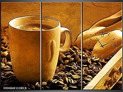 Orologi Da Parete In Tela : Tlg tela foto orologio da parete caffè tazze di caffè fagioli