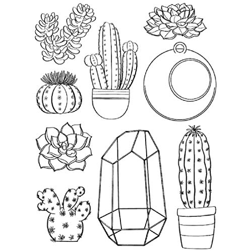 Succulents Transparent Clear Silicone Stamp/Seal for DIY Scrapbooking/Photo Album Decorative Clear Stamp Sheets. - Disney Stamp Block