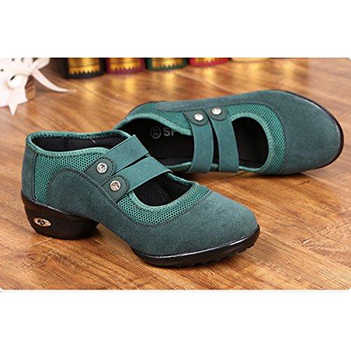 Danse A Chnhira Souple Semelle De Maille Gros Jazz Chaussure Vert Sneakers Femme Respirant Talon 1OtqOwf