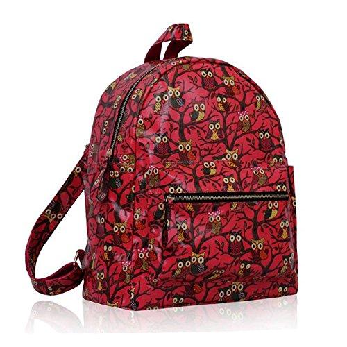 Xardi London - Bolso mochila  de Otra Piel para mujer mediano Coral Oilcloth Owl