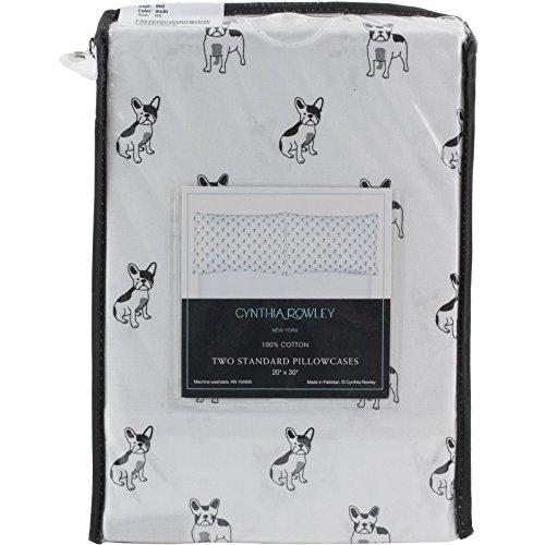 (Cynthia Rowley Boston Terrier - French Bulldog Dogs Set of 2 Two Standard Pillowcases - 100% Cotton 20