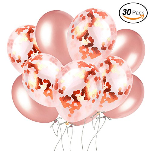 Rose Gold Confetti Balloons, 30 Pack 12 inch Rose Gold & Plush Pink Pre-Filled, Birthdays, Sweet 16, Engagement & Bachelorette Parties, Weddings, Bridal & Rose Gold Baby Showers,Gender Reveal. ()