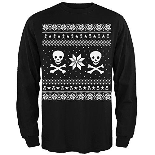 Amazon.com: Skull & Crossbones Ugly Christmas Sweater Black Long ...