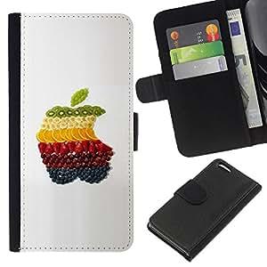 KingStore / Leather Etui en cuir / Apple Iphone 5C / Fruta macro Frutas de Apple