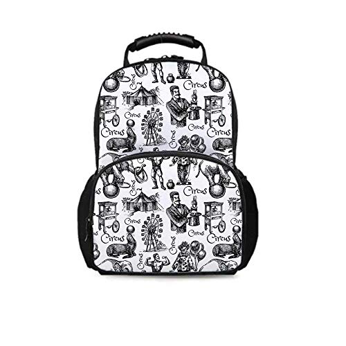 Modern Decor Leisure School Bag,Circus Quote and Themed Continous Pattern with Magician Baloons Artwork for School Travel,One_Size (Best Dark Magician Artwork)
