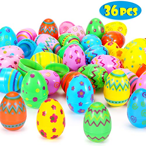 Sizonjoy 36 Pcs Plastic Easter Eggs-3'' Printed Bright Easter Eggs for Easter Hunt Party Favor,Basket Stuffers Fillers, Classroom Prize Supplies ()