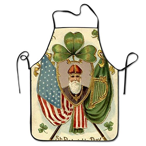 GAMSJM Personalized Kitchen Aprons Irish American Flag Overhand Prepare Woman Drilling Machine Washable Durable String Apron for Women&Men BBQ,Cooking,Working,Grilling,Baking,Crafting