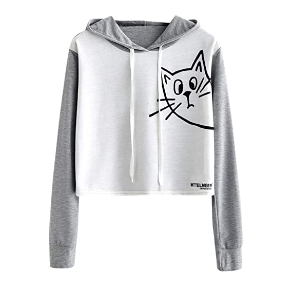 Mujer Gato Manga Larga Encapuchado Sudadera,Belasdla - Halloween Gato Moda Blusa Manga Larga Mujer Invierno Cat Hoodies Pullover Encapuchado Outwear Camisa ...
