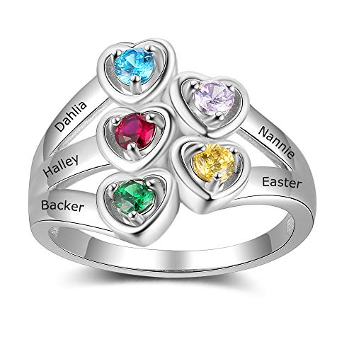 (Personalized Mothers Ring with 5 Children Simulated Birthstone 5 Names Anniversary Rings for Mom)