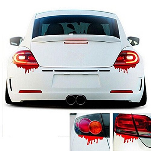 Iuhan1PC Fashion Red Blood Car Stickers Reflective Car Decals Light Bumper Body Sticker Decal ()