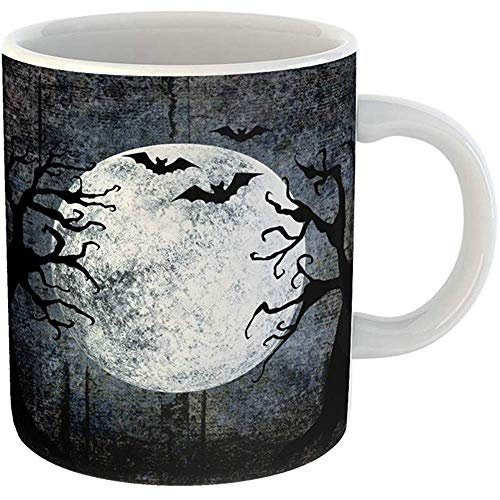 11 Ounces Coffee Tea Mug Gifts Funny Ceramic Halloween Full Moon Silhouettes of Bats Terrible Dead Trees on Dark Spooky Gifts For Family Friends Coworkers Boss Mug]()