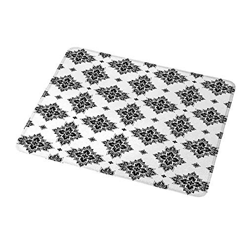 - Gaming Mouse Pad Custom Asian,Monochrome Eastern Floral Motifs Traditional Paisley Pattern Vintage Style Artwork,Black White,Non-Slip Personalized Rectangle Mouse pad 9.8