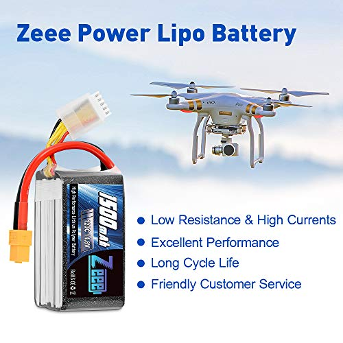 Zeee 14.8V 120C 1500mAh 4S Lipo Battery Graphene Battery with XT60 Plug for FPV Drone Quadcopter Helicopter Airplane RC Boat RC Car RC Models(2 Pack)