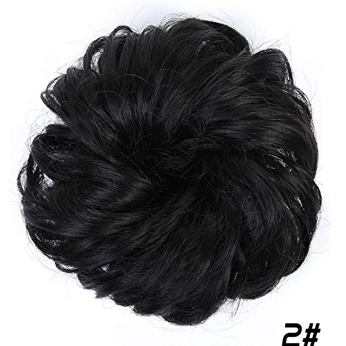 Women Curly Chignon Hair Clip In Hairpiece Extensions Black Brown Red Synthetic High Temperature Fiber,#2 ()