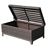 PATIOROMA Aluminum Frame Wicker Cushion Storage Ottoman (Small Image)