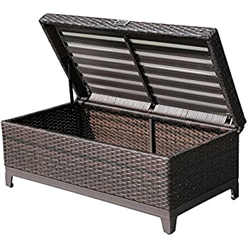 PATIOROMA Outdoor Patio Aluminum Frame Wicker Storage Deck Box Bench With  Seat Cushion, Espresso Brown