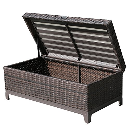Patioroma outdoor patio aluminum frame wicker storage deck box bench with seat cushion espresso Storage bench outdoor