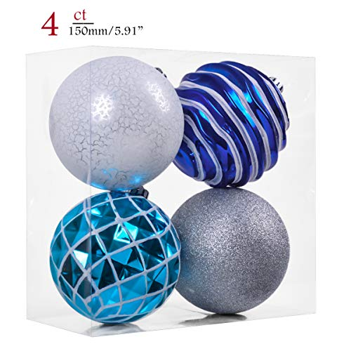 Teresas Collections 4ct 150mm Winter Land Silver and Blue Shatterproof Christmas Ball Ornaments Decoration for Christmas Tree