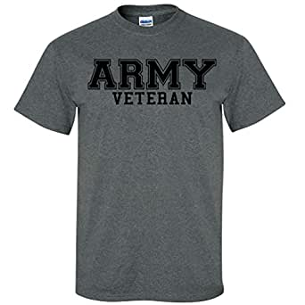 Army Veteran BLACK Logo Short Sleeve T-Shirt in Dark Heather - Small