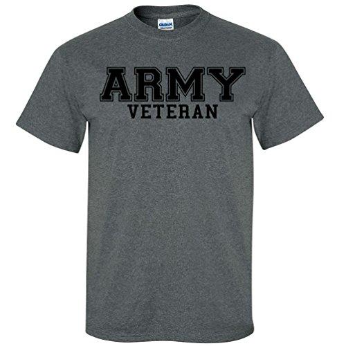 Army Veteran Black Logo Short Sleeve T-Shirt in Dark Heather - X-Large