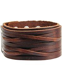 Punk Mens Leather Bracelet Wide Belt Wrap Bracelets Cuff Bangle Wristband for Kids, Boys, Women