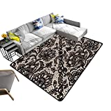 alsohome Modern Abstract Area Rug lace Flowers Butterflies infinitely Wallpaper Durable and Resistant to Soiling 24 x 40 inch