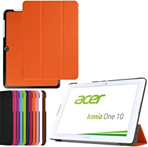 2in1 for Acer Iconia One 10 B3-A20 10.1 Inch Tablet Ultra Thin Slim Folio Stand Sleep/Wake Up Leather Case Smart Cover +1x Clear Screen Protector (Orange)
